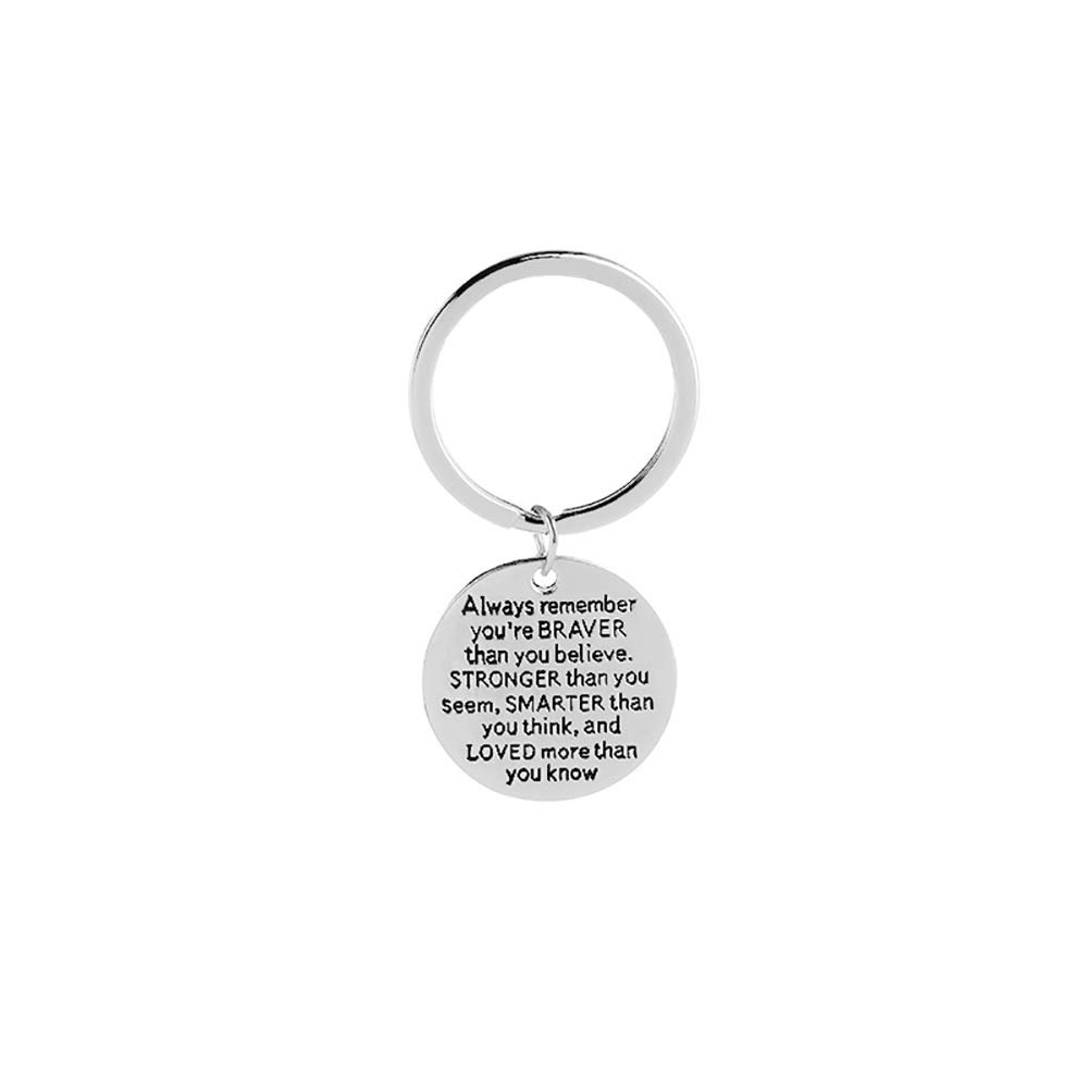 Always Remember You Are Braver Round Pendant Key Ring Inspirational Keychain NEW