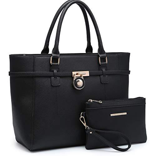 Women's Large Fashion Tote Bag Elegant Top Belted Padlock Handbag Satchel Purse Shoulder Work Bag Wallet Set