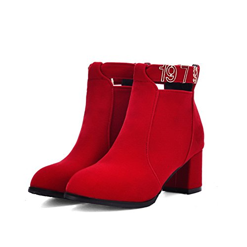 BalaMasa Girls Metal Ornament Back Zipper Chunky Heels Imitated Suede Boots Red gDVNW