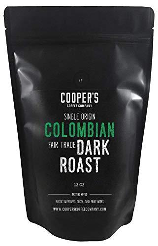 Dark Roast Colombian Coffee Beans, Grade 1 Micro Lot Single Origin Whole Bean Coffee, Direct Trade - 12 oz Bag
