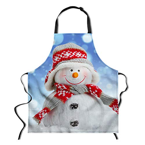 Christmas Snowman Apron, Adjustable Neck Kitchen Apron