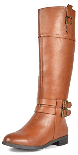 TOETOS Women's Diane Tan Knee High Winter Riding Boots Size 8 M (Tan Leather High Heel)