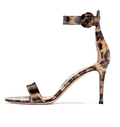 elashe Mujer zapatos con correa Leopardo