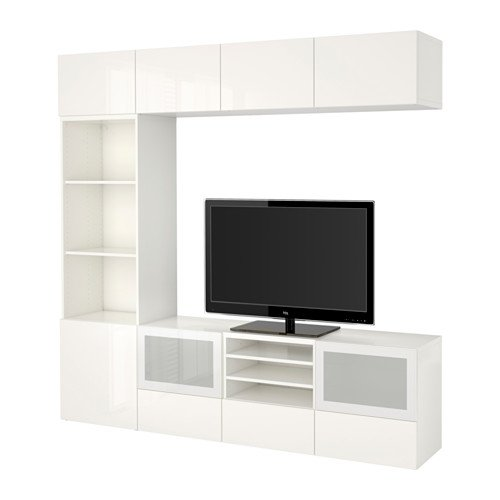 Ikea TV storage combination with soft-closing drawers and glass doors, white, Selsviken high gloss/white frosted glass 8202.262029.630