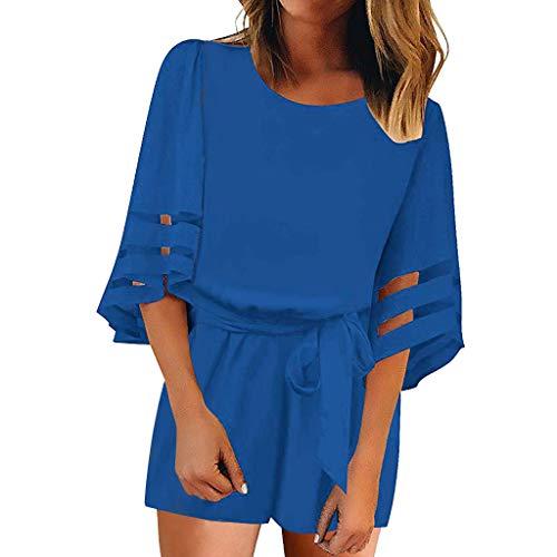Kulywon Women O Neck Mesh Panel Blouse 3/4 Bell Sleeve Loose Mini Dress with Belt Blue