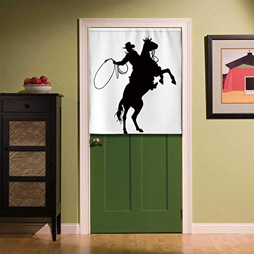 YOLIYANA Cartoon Fabric Art Door Curtain,Cowboy and Horse Silhouette Man with a Hat Shadow Texas Rural Illustration for Locker Room Store Privacy Space,33.46''W x 35.43''H