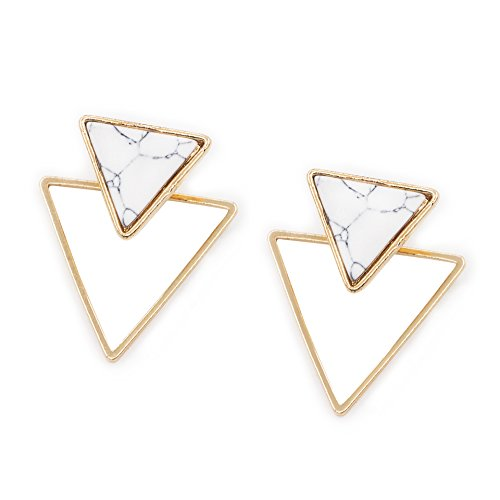 geerier-golden-metal-frame-marble-stone-stud-earring-triangle-white