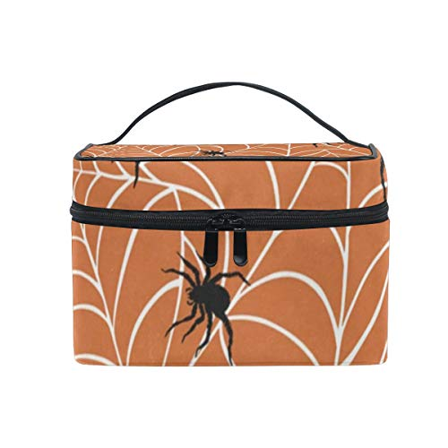 (Makeup Bag Halloween Spiders On Webs Cosmetic Bag Portable Large Toiletry Bag for Women/Girls)