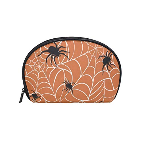 Toiletry Bag Halloween Spiders On Webs Womens Beauty Makeup Case Brush Cosmetic Organizer -