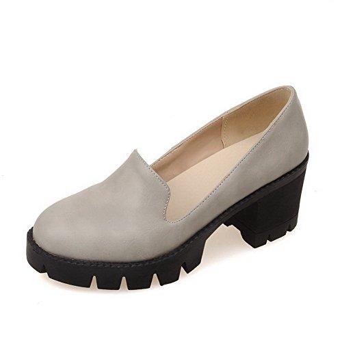 Amoonyfashion Donna Solido Materiale Morbido Gattino Tacchi Pull-on Tacco Chiuso Scarpe-scarpe Grigio