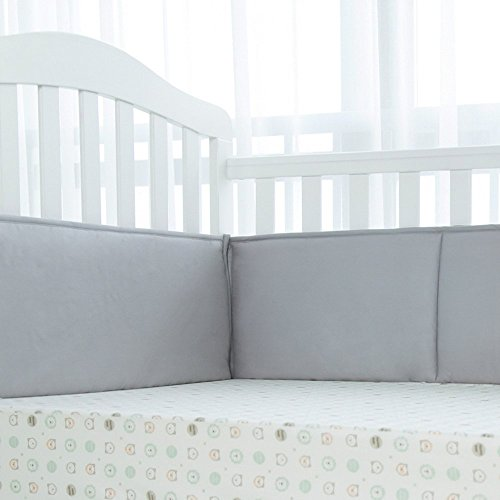 TILLYOU 4-Piece Baby Breathable Crib Bumper Pads for Standard Crib Rails Machine Washable Padded Crib Liner 100% Premium Woven Cotton, Gray