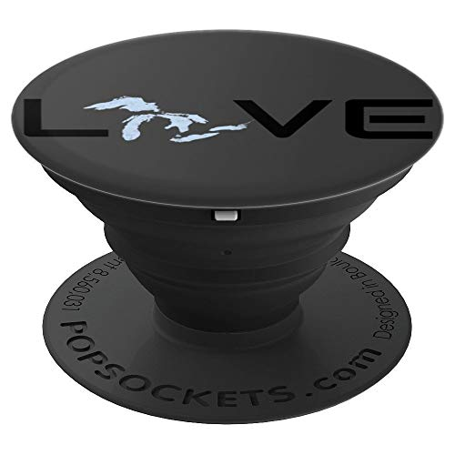 Love The Great Lakes Michigan Ontario Huron Erie Superior - PopSockets Grip and Stand for Phones and Tablets