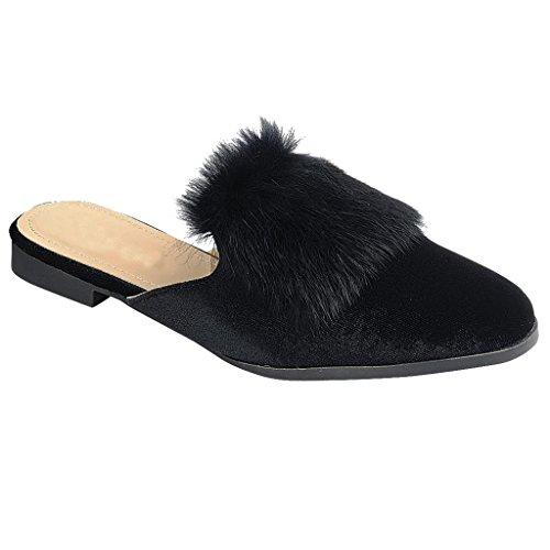 Black Loafer Slide Sandal Slip Trim Velvet Women On Fur Shoe Flat SNJ Oxford Mule g1tfq