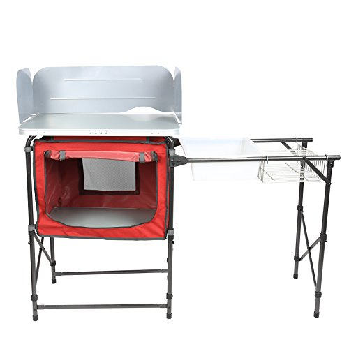 PORTAL Portable Camp Kitchen Table Deluxe Outdoor Cooking Picnic BBQ Grill Station with Storage Organizer, Windscreen and Sink Table by PORTAL