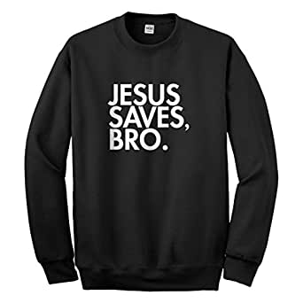 Indica Plateau Crew Jesus Saves Bro Small Black Sweatshirt