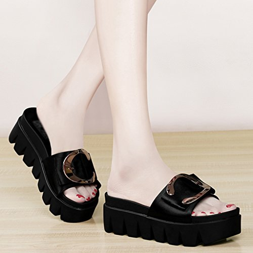 37 Color Tamaño Negro Mujer mujer Tacón de Gruesas para Zapatos HWF Beige Alto Sandalias Muffin Bottom gqw6xHZP
