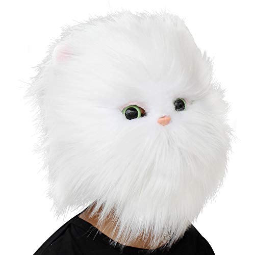 CreepyParty Deluxe Halloween Costume Party Latex Animal Cat Head Mask Persian Cat White]()