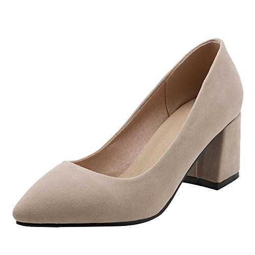 Carolbar Women's Solid Color Concise Block High Heel Pointed Toe Court Shoes Beige