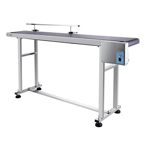 OrangeA Belt Conveyor 59 x 7.8 inch Adjustable Conveyor Table 0-82 ft/min Conveyor Belt Stainless Steel Motorized Anti-Static PVC Belt with Single Guardrail