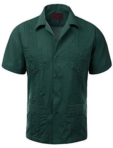 Zennyo Label Guayabera Mens Haband Cuban Wedding Short Sleeve Button-up Shirt Dark -