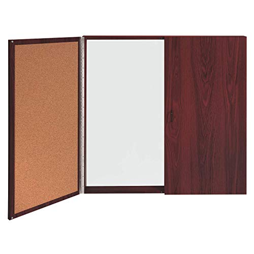 Ghent Conference Cabinet - Porcelain Magnetic Whiteboard w/Cork on Interior of Doors - Mahogany - Made in the USA ()
