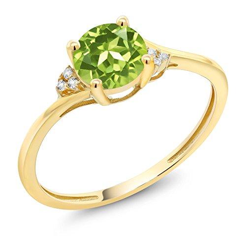 10K Yellow Gold Green Peridot and Diamond Accent Engagement Ring 0.90 Ctw Round (Size 7)