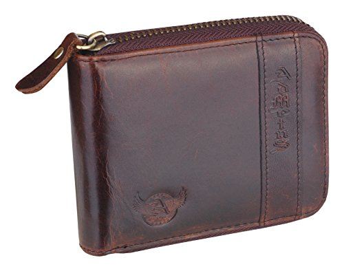 Zip Admetus Bifold around with Wallet Leather Genuine Brown4 Gift Elegant Men's r7IqBIa
