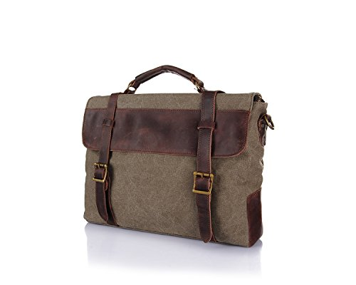 Canvas Retro With First Men's Portable Leather Shoulder Briefcase Horse Bag Brass Layer The Crazy Messenger Of qnAxxtHB