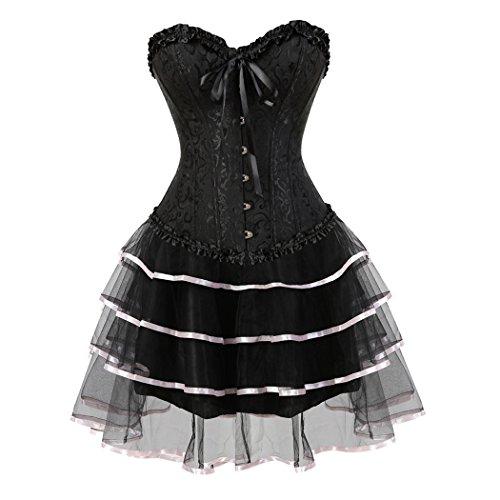 Corset Des Femmes Avec Mini Costumes De Fête Jupe Tutu Costumée Corps De Mariage Overbust Corset Noir-rose