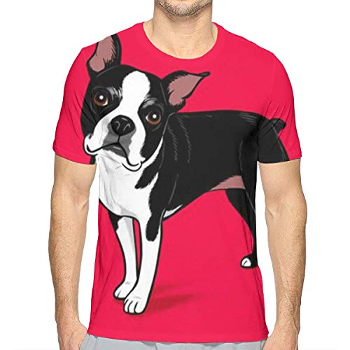 Men Boys 3D Printed Boston Terrier Dog Red T-Shirts, Short Sleeve Crew Neck Undershirt Premium Fitted Workwear for Holiday Gym Exercise, Quick Dry/Moisture Wicking -