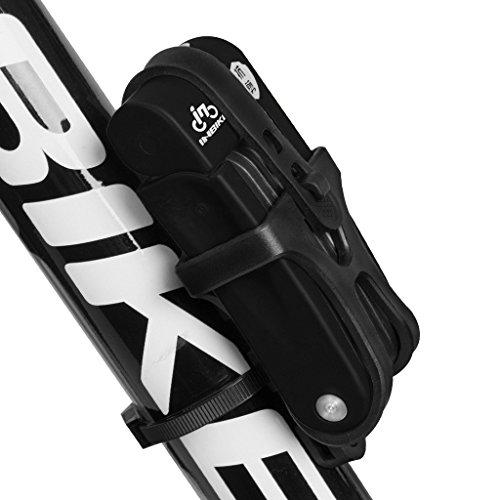 Inbike Fahrradschloss Faltschlöss für Fahrrad mit Rahmenhalterung(Schwarz Mangan)