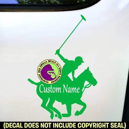 (POLO Horse ADD CUSTOM WORDS Vinyl Decal Sticker F)
