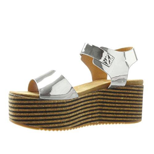 Angkorly - Zapatillas de Moda Sandalias Mules zapatillas de plataforma mujer corcho líneas tanga Talón Plataforma 7 CM - Plata
