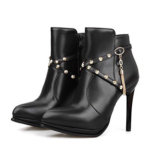 Allhqfashion Women's PU Blend Materials High-Heels Boots with Metal Ornament and Zippers Black EFLpGsmEQh