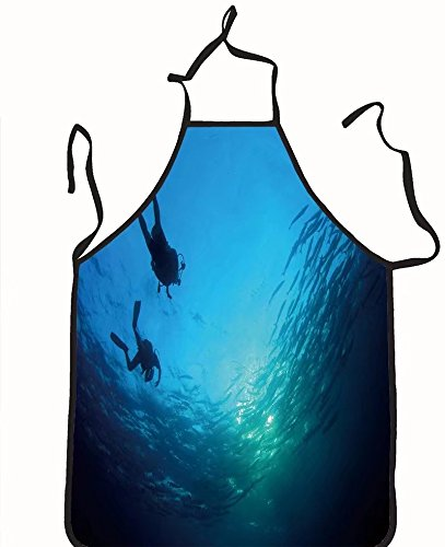 chanrancase tailored apron scuba divers and shoal of barracuda fish Children, unisex kitchen apron, adjustable neck for barbecue 17.7x26.6+10.2(neck) (Divers Shredder)