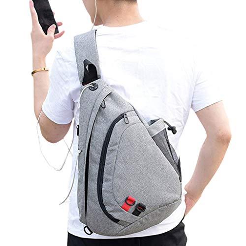 Hombre Size 81x6 Bandolera Ligth Carga Crossbody Ligth 11 USB Gray App Auriculares Deportes Lamdoo 30x16x45cm Bolso para Gray con 72 3x17 wa577tq