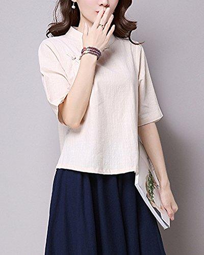 Haut Tops Shirts T Beige Chemise Lin Jacquard Mengmiao Femmes Coton Simple Tunique Chic w8ZqwRS