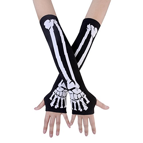 JISEN Black Punk Gothic Rock Knitted Soft Arm Warmer Fingerless Gloves White Skeleton -