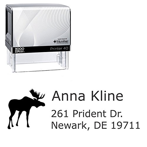 Line Moose (Moose Custom 3 Line Self Inking Stamp. Personalized rubber stamp with lines of text (A11-3))
