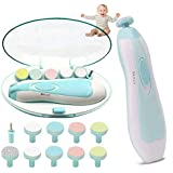 Baby Nail File Electric, Nail Trimmer for Baby with Light, 10 Replacement Pads and 4 Speed Control Modes for Newborn…