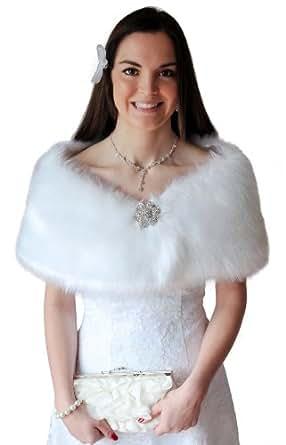 White Faux Fur Wrap Fox