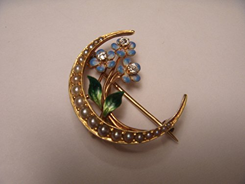 Antique Victorian 14K Yellow Gold Moon Seed Pearl Enamel Diamond Brooch Pin by GEMSforyou
