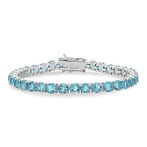 Parade of Jewels Sterling Silver Round Cut Swiss Blue Topaz Tennis Bracelet (22 carat t.w.), - Bracelet Pendant Topaz Blue
