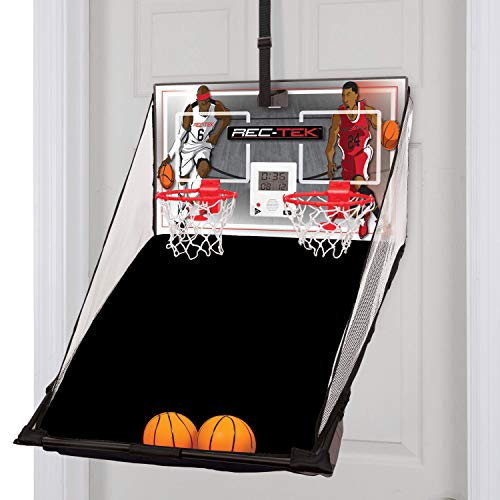 Rec-Tek Over The Door Double Shot Basketball Game for Kids - Features Automatic Scoring, No Tools Required - Complete with All Accessories -