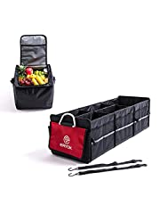 ERYOK Auto Waterproof Trunk Organizer with Premium Insulation Leak-proof Cooler Bag, Collapsible Multi-Compartment Storage Organizer with adjustable securing straps for cars, SUV, trucks, Van