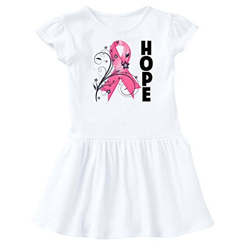 inktastic - Breast Cancer Floral Hope Ribbon Toddler Dress 3T White - HDD 1e97b -