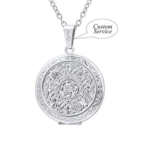 (U7 Vintage Flower Locket Necklace with Custom Engrave on Pendant Loop Stainless Steel Girls Charm Pendant Round Photo Lockets Jewelry, Chain 22