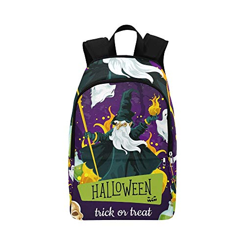 - YSWPNA Halloween Greeting Poster Evil Wizard Fear Casual Daypack Travel Bag College School Backpack for Mens and Women