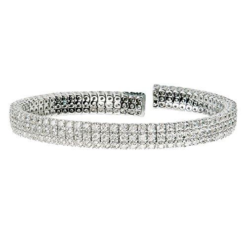 D'sire 18K White Gold Diamond Bangle Bracelet TDW 8.1 ()