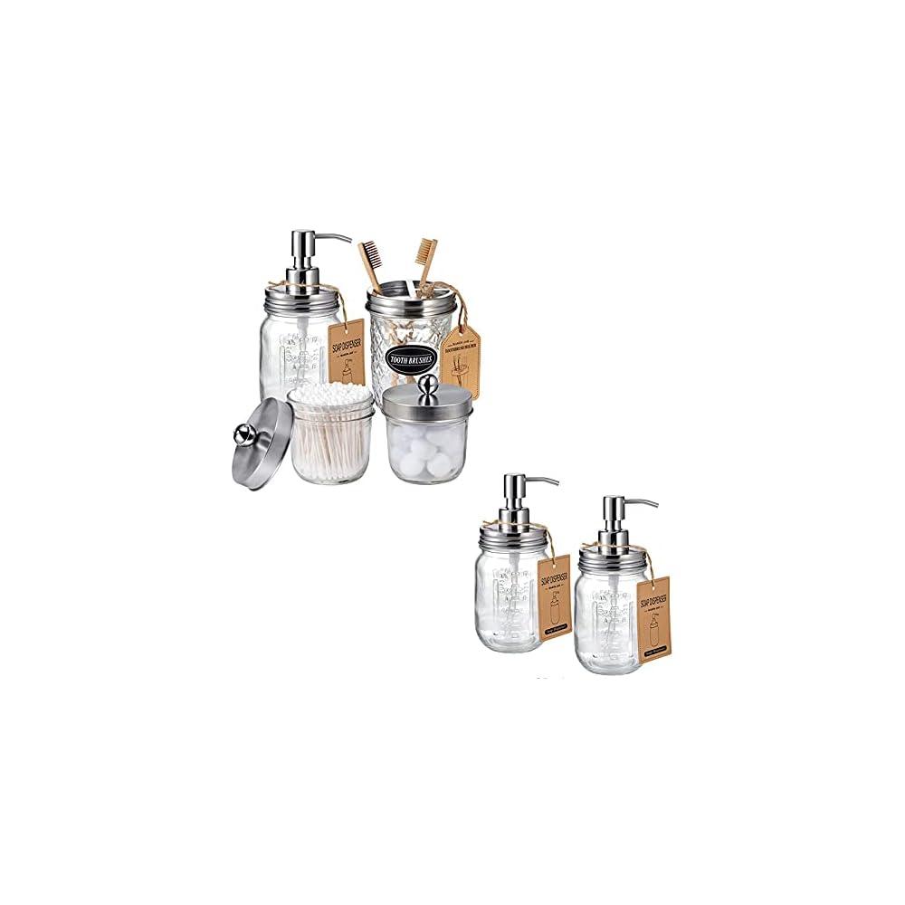 Amolliar 4PCS & 2pcs Brushed Nickel Mason Jar Bathroom Accessories Set-3pcs Lotion Soap Dispenser & 2 pcs Cotton Swab…
